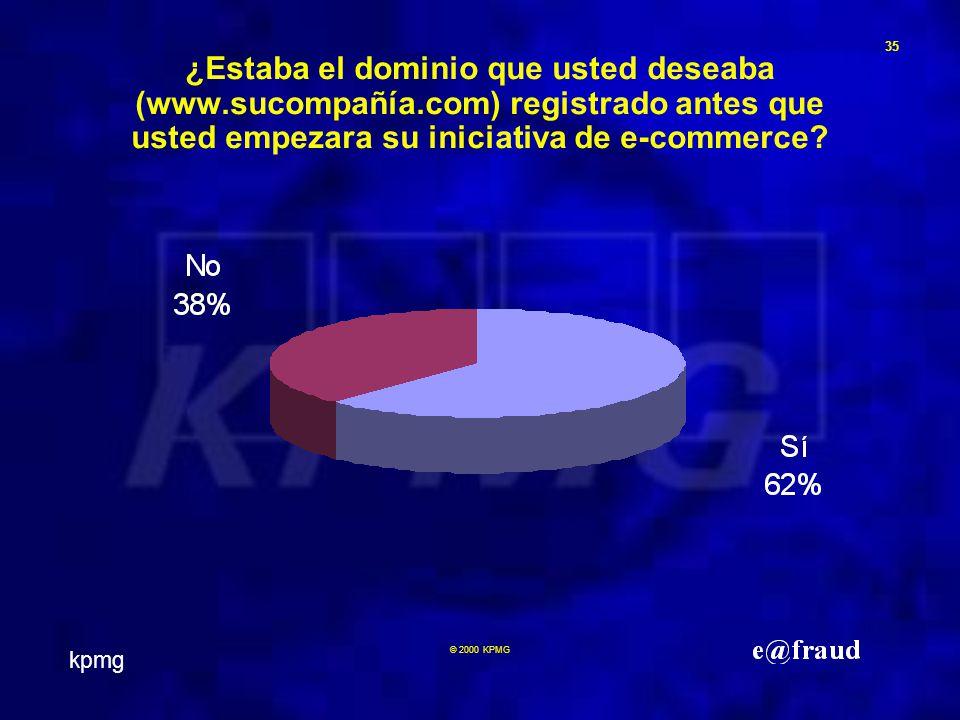 kpmg 35 © 2000 KPMG ¿Estaba el dominio que usted deseaba (www.sucompañía.com) registrado antes que usted empezara su iniciativa de e-commerce