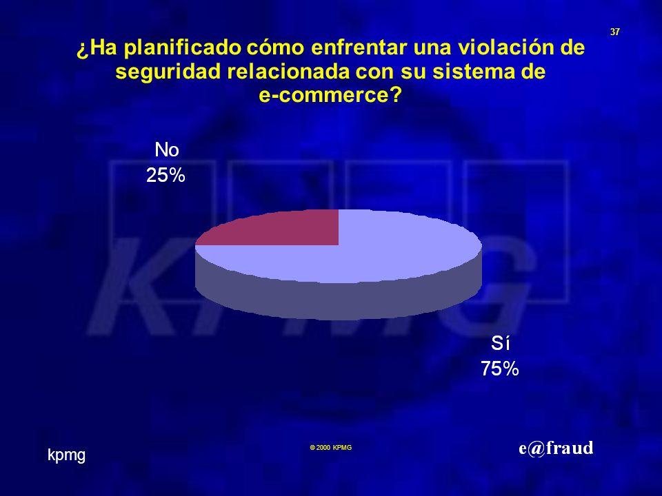 kpmg 37 © 2000 KPMG ¿Ha planificado cómo enfrentar una violación de seguridad relacionada con su sistema de e-commerce