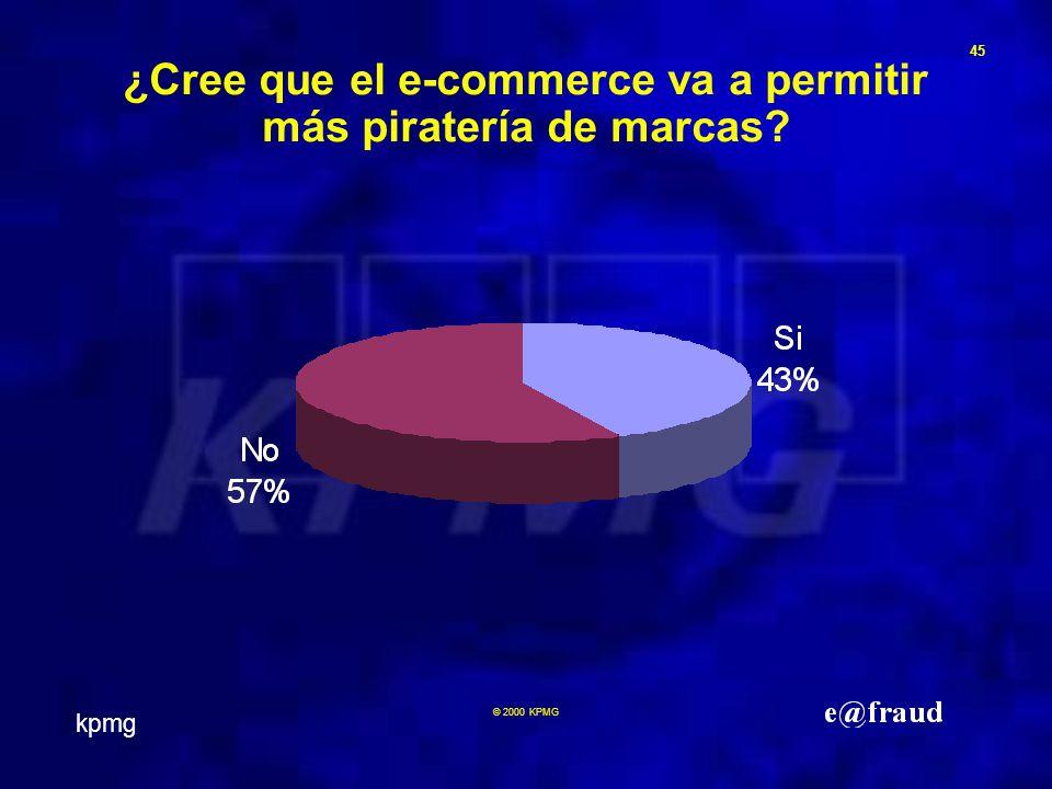 kpmg 45 © 2000 KPMG ¿Cree que el e-commerce va a permitir más piratería de marcas