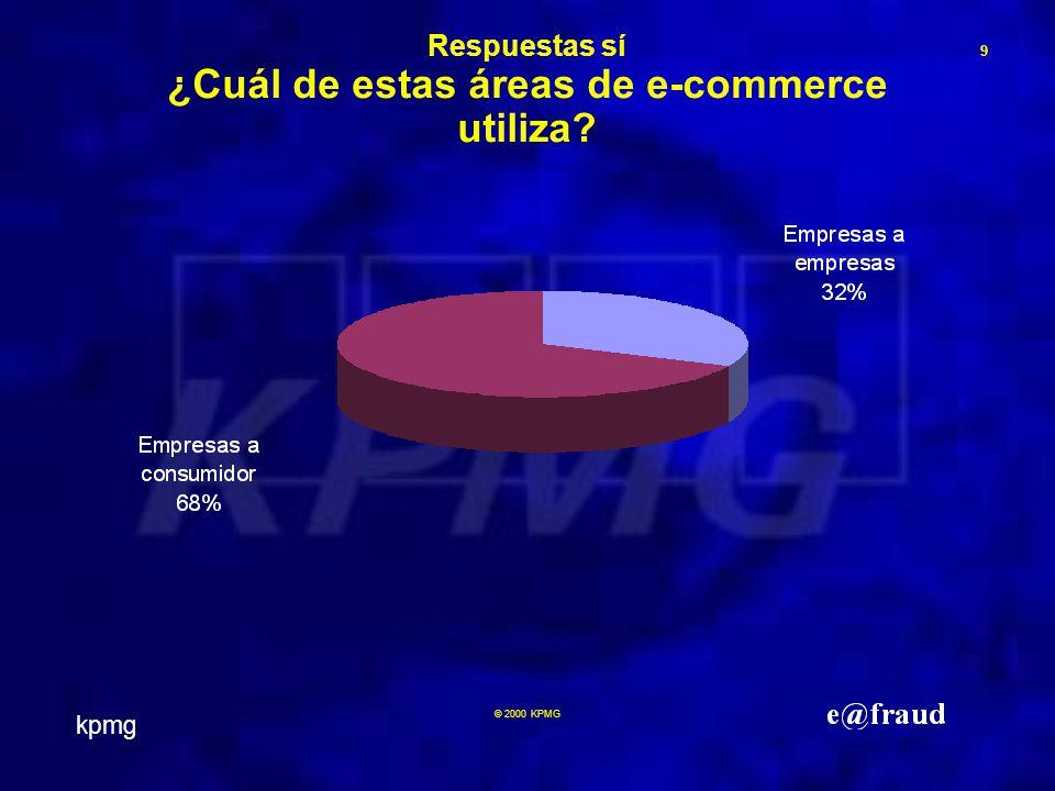 kpmg 9 © 2000 KPMG Respuestas sí ¿Cuál de estas áreas de e-commerce utiliza