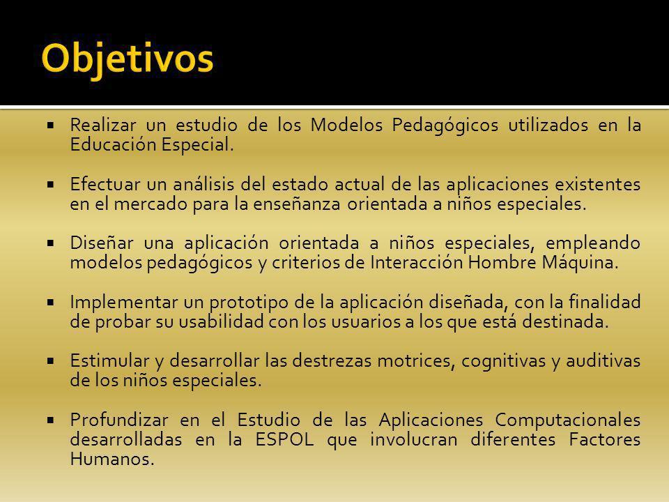 Realizar un estudio de los Modelos Pedagógicos utilizados en la Educación Especial. Efectuar un análisis del estado actual de las aplicaciones existen