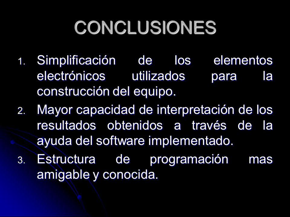 CONCLUSIONES 1. Simplificación de los elementos electrónicos utilizados para la construcción del equipo. 2. Mayor capacidad de interpretación de los r