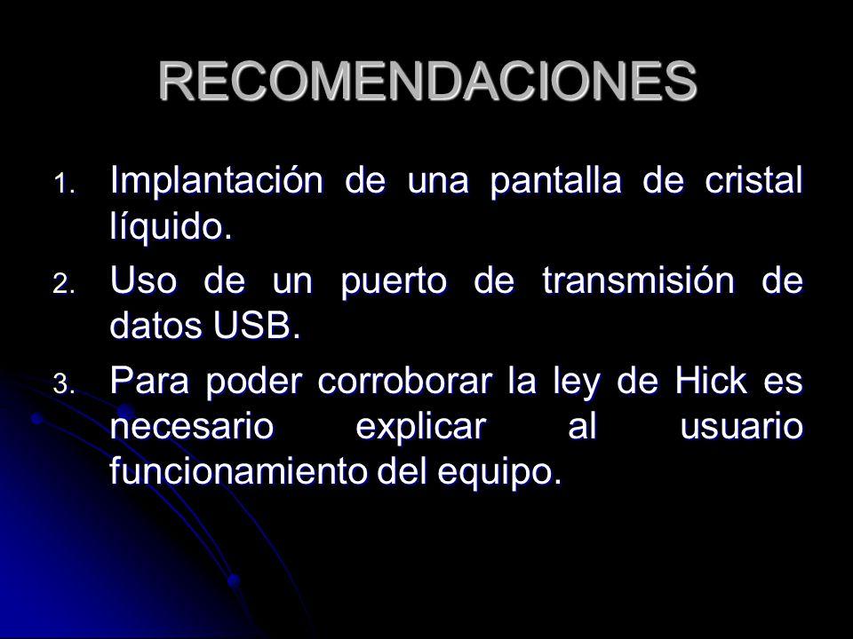 RECOMENDACIONES 1. Implantación de una pantalla de cristal líquido. 2. Uso de un puerto de transmisión de datos USB. 3. Para poder corroborar la ley d