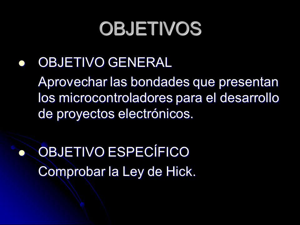 OBJETIVOS OBJETIVO GENERAL OBJETIVO GENERAL Aprovechar las bondades que presentan los microcontroladores para el desarrollo de proyectos electrónicos.