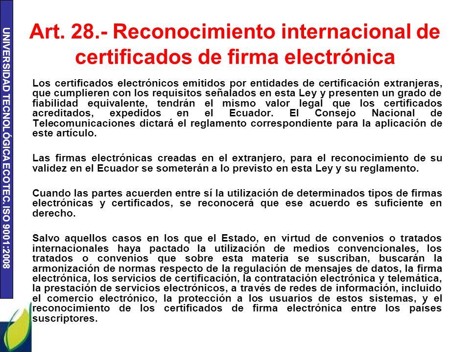 UNIVERSIDAD TECNOLÓGICA ECOTEC.ISO 9001:2008 Art.