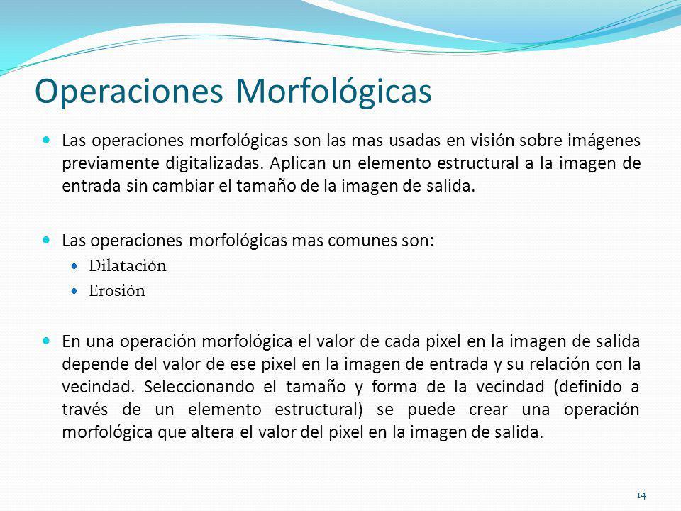 Operaciones Morfológicas Las operaciones morfológicas son las mas usadas en visión sobre imágenes previamente digitalizadas. Aplican un elemento estru