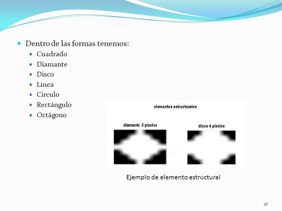 Dentro de las formas tenemos: Cuadrado Diamante Disco Línea Circulo Rectángulo Octágono Ejemplo de elemento estructural 16