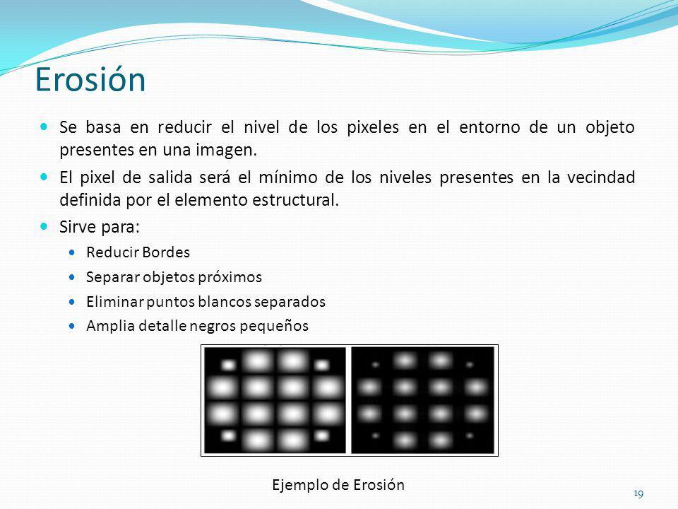 Erosión Se basa en reducir el nivel de los pixeles en el entorno de un objeto presentes en una imagen. El pixel de salida será el mínimo de los nivele