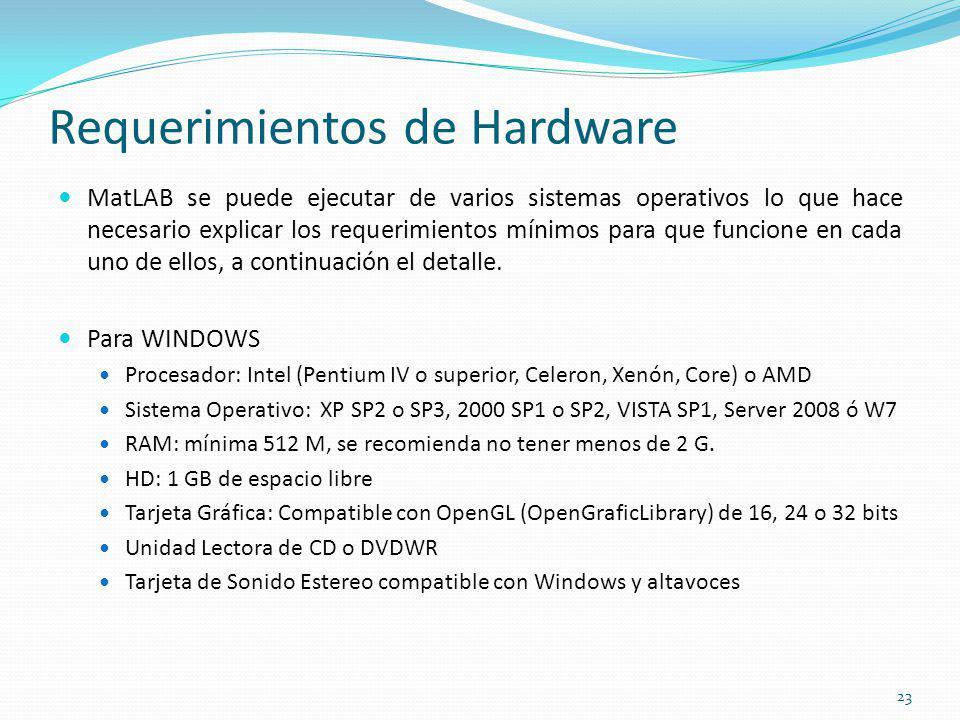 Requerimientos de Hardware MatLAB se puede ejecutar de varios sistemas operativos lo que hace necesario explicar los requerimientos mínimos para que f