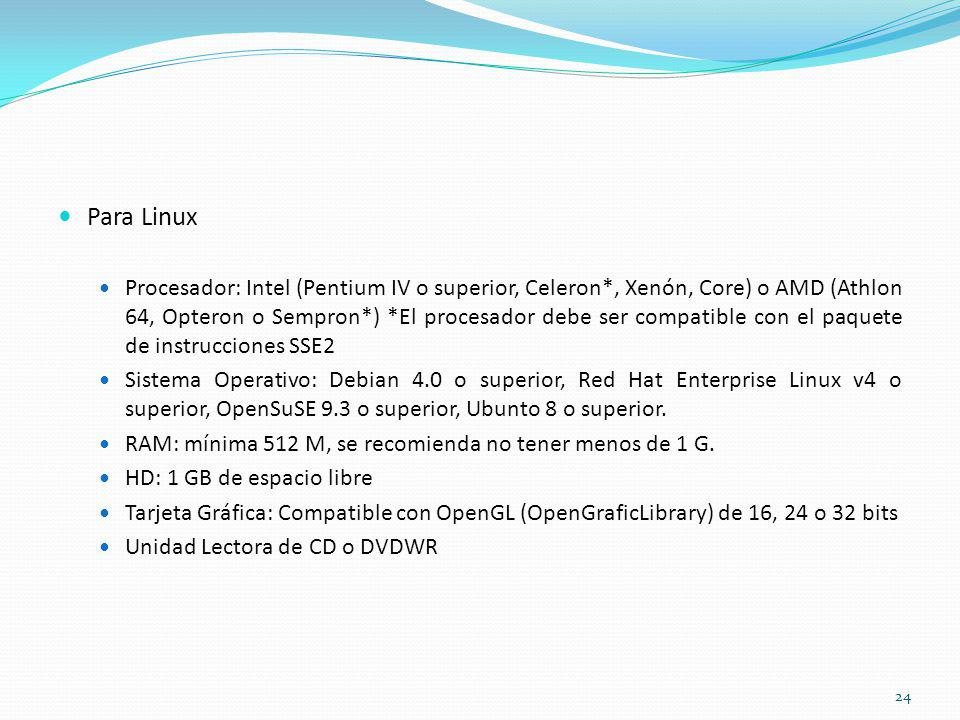 Para Linux Procesador: Intel (Pentium IV o superior, Celeron*, Xenón, Core) o AMD (Athlon 64, Opteron o Sempron*) *El procesador debe ser compatible c