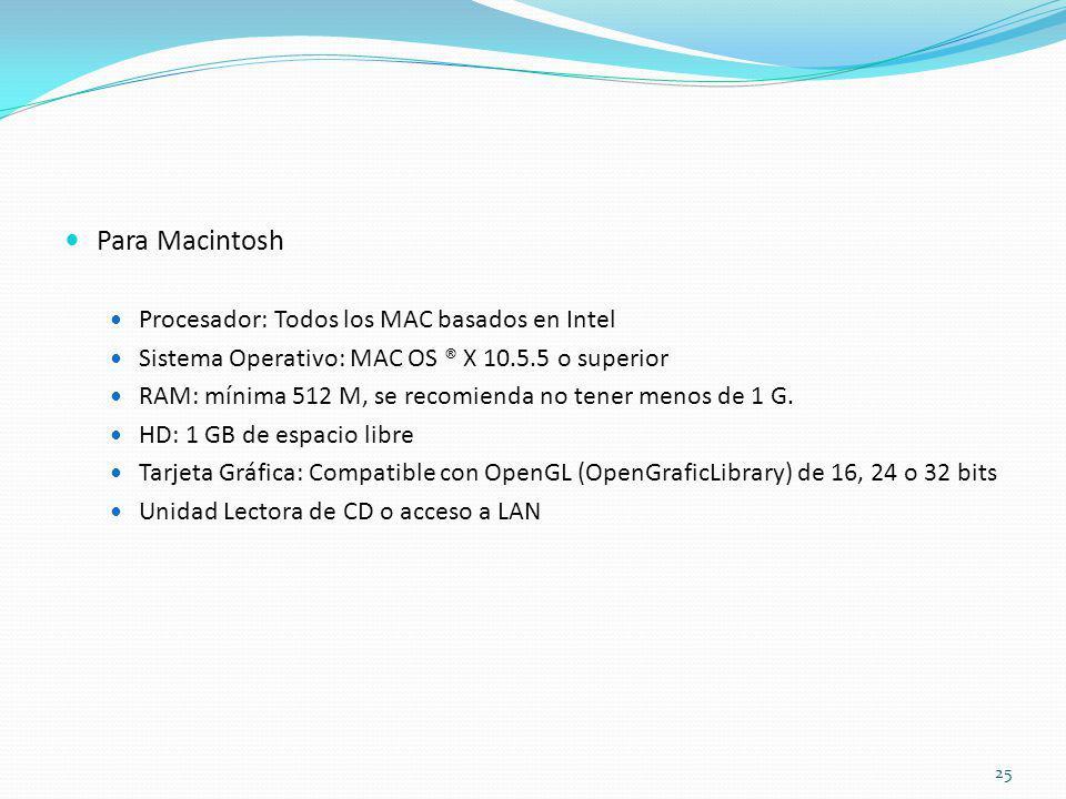 Para Macintosh Procesador: Todos los MAC basados en Intel Sistema Operativo: MAC OS ® X 10.5.5 o superior RAM: mínima 512 M, se recomienda no tener me