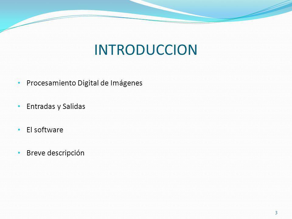 INTRODUCCION Procesamiento Digital de Imágenes Entradas y Salidas El software Breve descripción 3