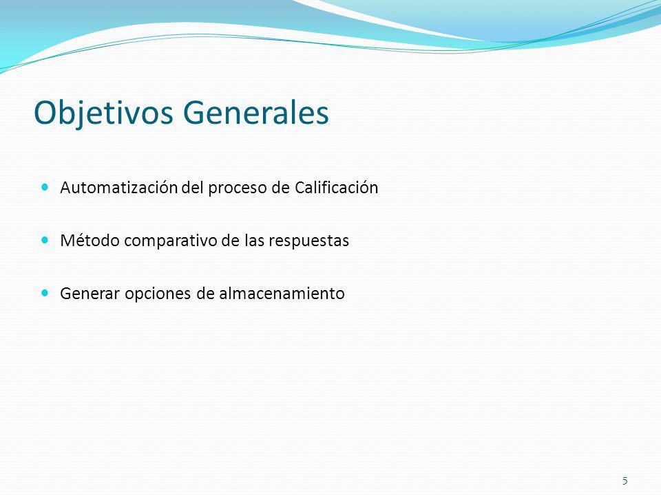 Objetivos Generales Automatización del proceso de Calificación Método comparativo de las respuestas Generar opciones de almacenamiento 5