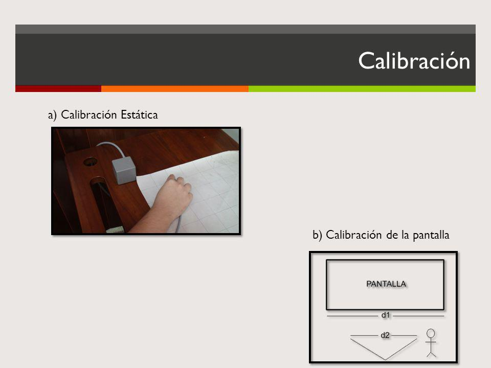 Calibración a) Calibración Estática b) Calibración de la pantalla
