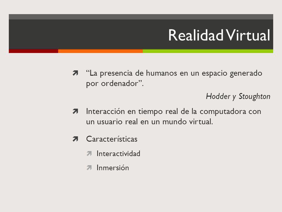 Realidad Virtual La presencia de humanos en un espacio generado por ordenador. Hodder y Stoughton Interacción en tiempo real de la computadora con un