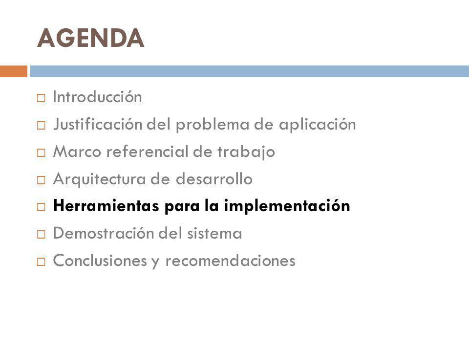 AGENDA Introducción Justificación del problema de aplicación Marco referencial de trabajo Arquitectura de desarrollo Herramientas para la implementaci
