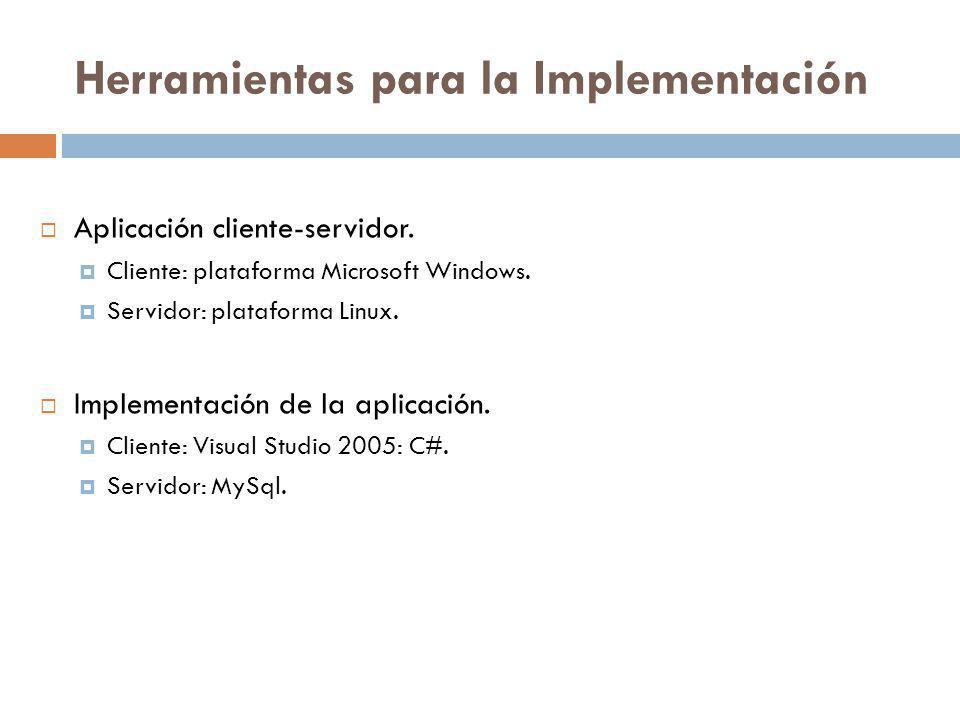 Herramientas para la Implementación Aplicación cliente-servidor. Cliente: plataforma Microsoft Windows. Servidor: plataforma Linux. Implementación de