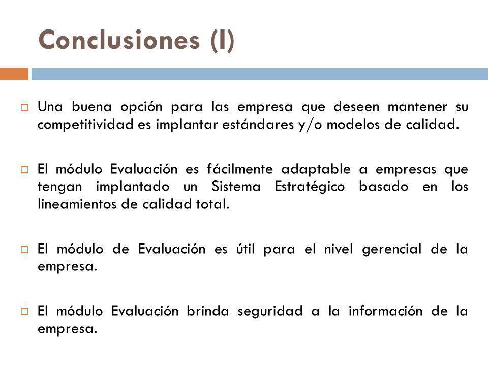 Conclusiones (I) Una buena opción para las empresa que deseen mantener su competitividad es implantar estándares y/o modelos de calidad. El módulo Eva