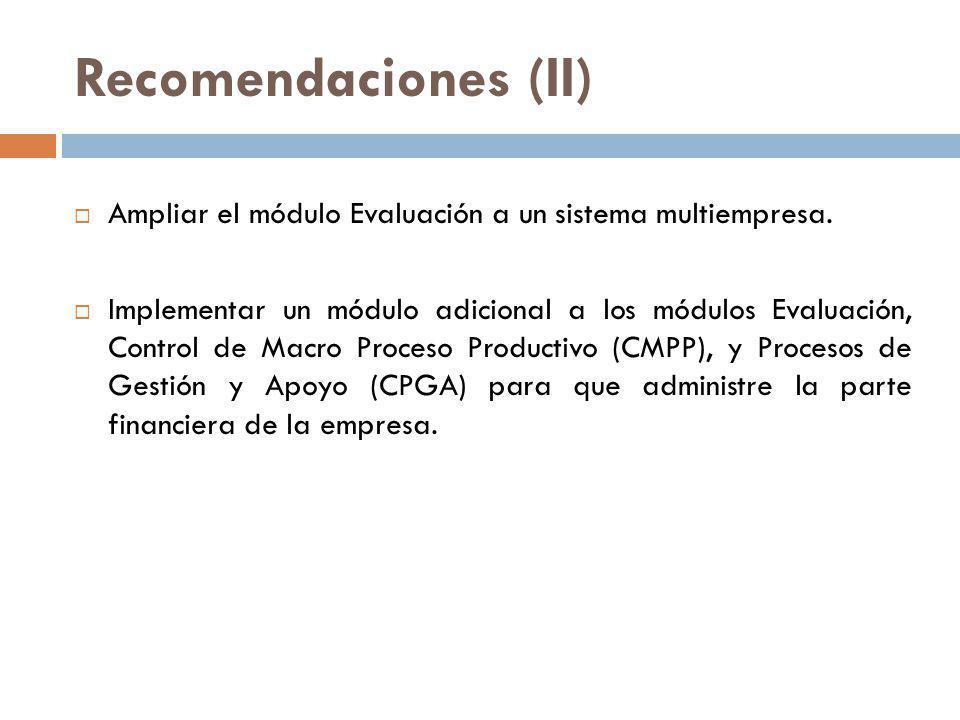Recomendaciones (II) Ampliar el módulo Evaluación a un sistema multiempresa. Implementar un módulo adicional a los módulos Evaluación, Control de Macr