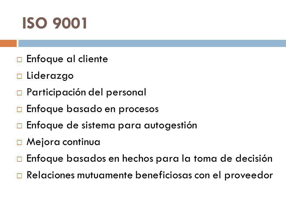 ISO 9001 Enfoque al cliente Liderazgo Participación del personal Enfoque basado en procesos Enfoque de sistema para autogestión Mejora continua Enfoque basados en hechos para la toma de decisión Relaciones mutuamente beneficiosas con el proveedor