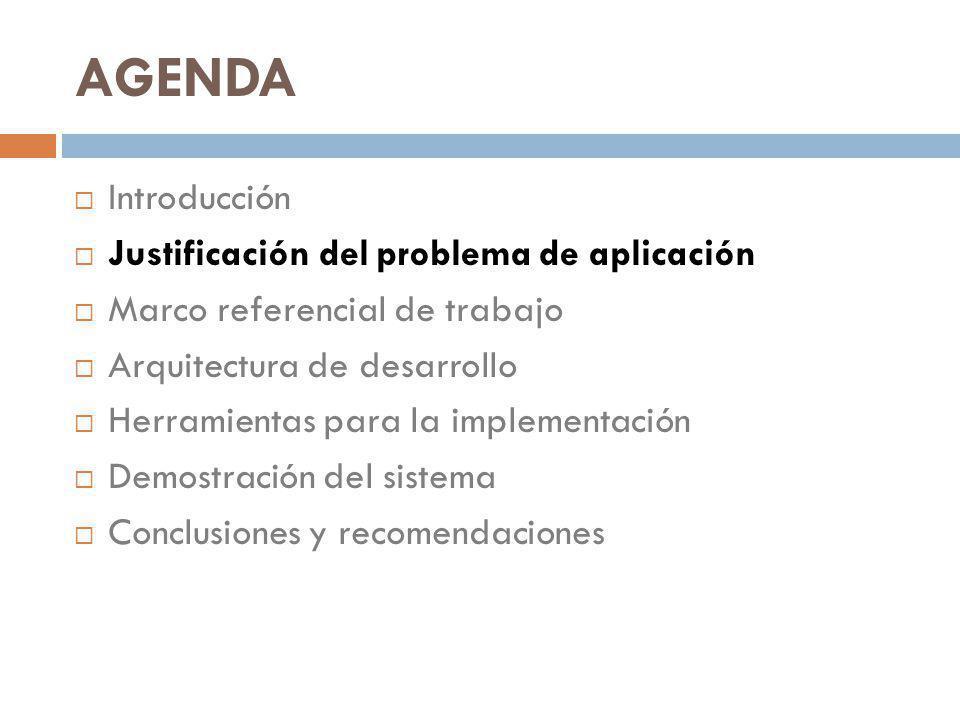AGENDA Introducción Justificación del problema de aplicación Marco referencial de trabajo Arquitectura de desarrollo Herramientas para la implementación Demostración del sistema Conclusiones y recomendaciones