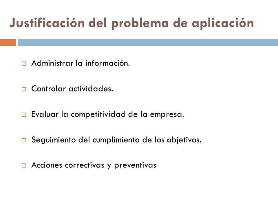 Justificación del problema de aplicación Administrar la información. Controlar actividades. Evaluar la competitividad de la empresa. Seguimiento del c