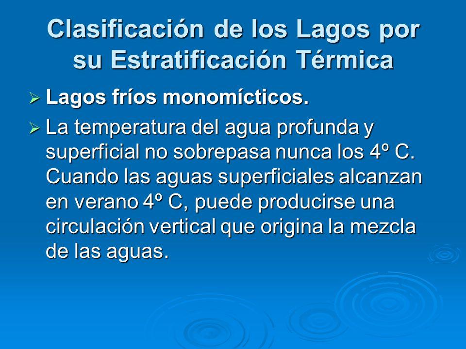 Clasificación de los Lagos por su Estratificación Térmica Lagos fríos monomícticos. Lagos fríos monomícticos. La temperatura del agua profunda y super