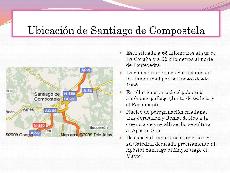 Ubicación de Santiago de Compostela Está situada a 65 kilómetros al sur de La Coruña y a 62 kilómetros al norte de Pontevedra. La ciudad antigua es Pa