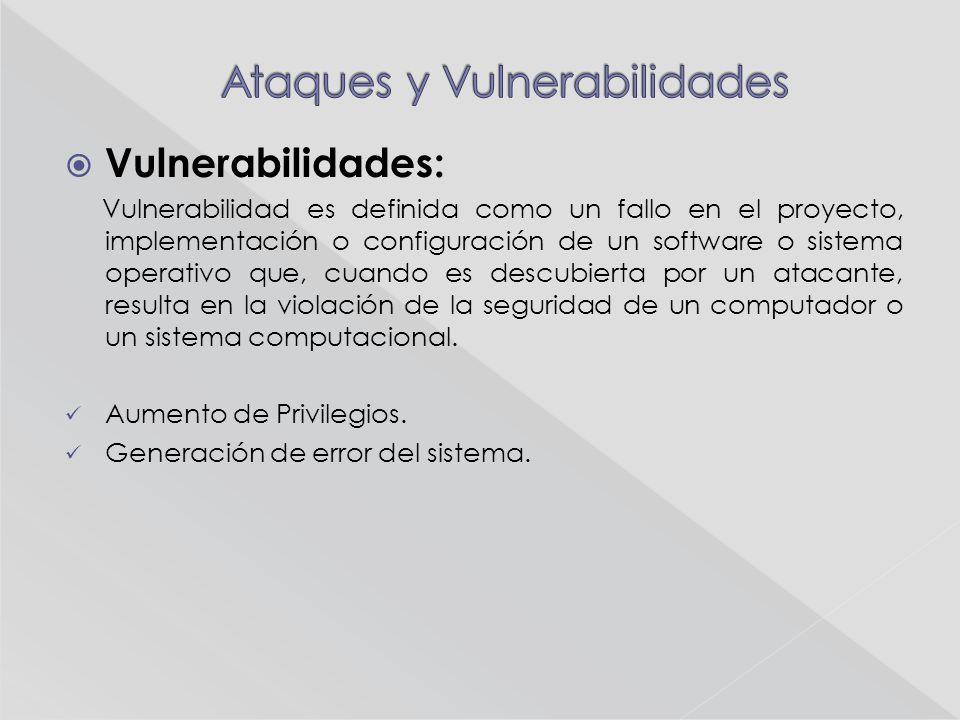Vulnerabilidades: Vulnerabilidad es definida como un fallo en el proyecto, implementación o configuración de un software o sistema operativo que, cuando es descubierta por un atacante, resulta en la violación de la seguridad de un computador o un sistema computacional.