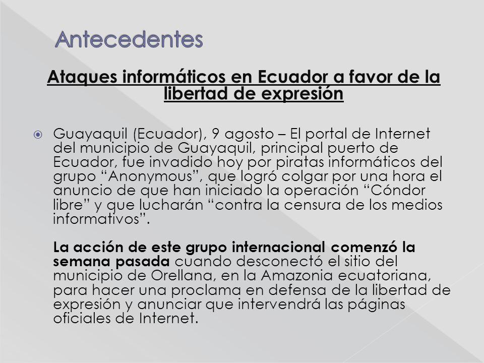 En el ataque al sitio del municipio de Guayaquil, Anonymus adjuntó un enlace por el que se puede acceder a una base de datos de miembros de la Policía de Ecuador.