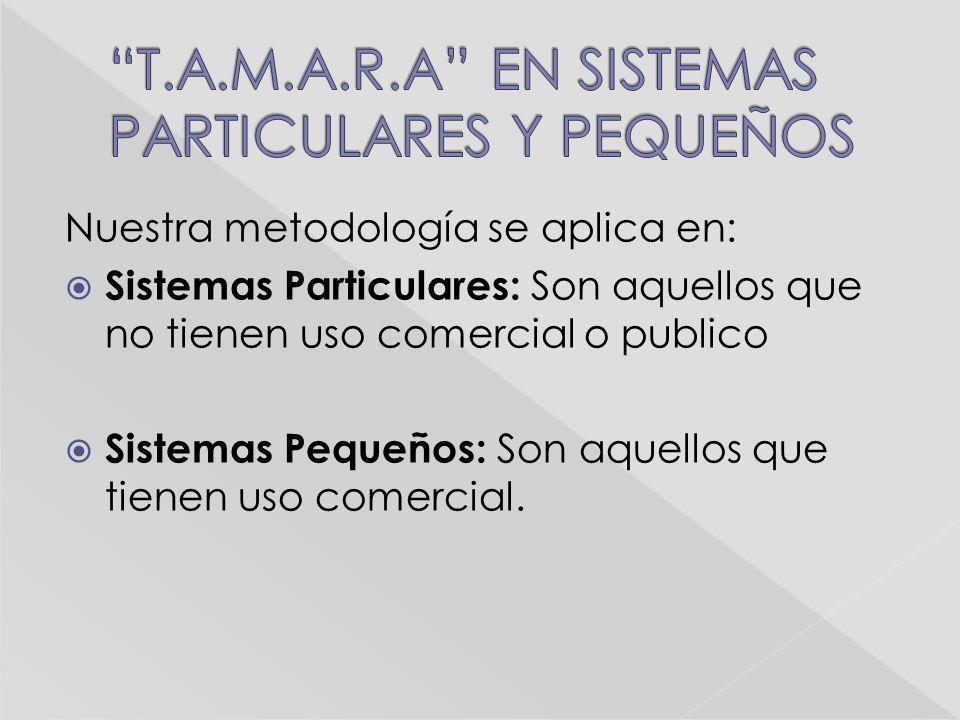 Nuestra metodología se aplica en: Sistemas Particulares: Son aquellos que no tienen uso comercial o publico Sistemas Pequeños: Son aquellos que tienen uso comercial.