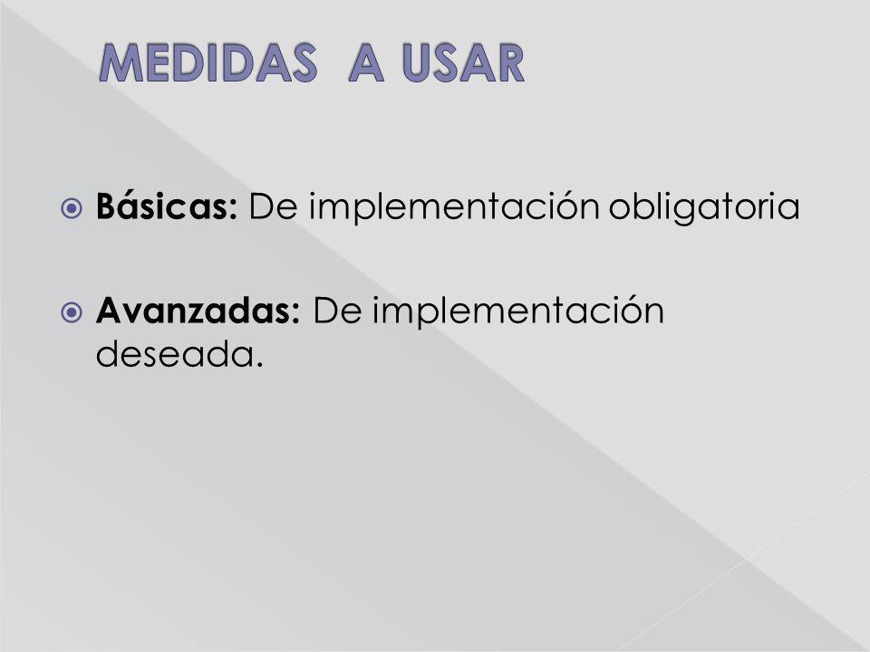 Básicas: De implementación obligatoria Avanzadas: De implementación deseada.