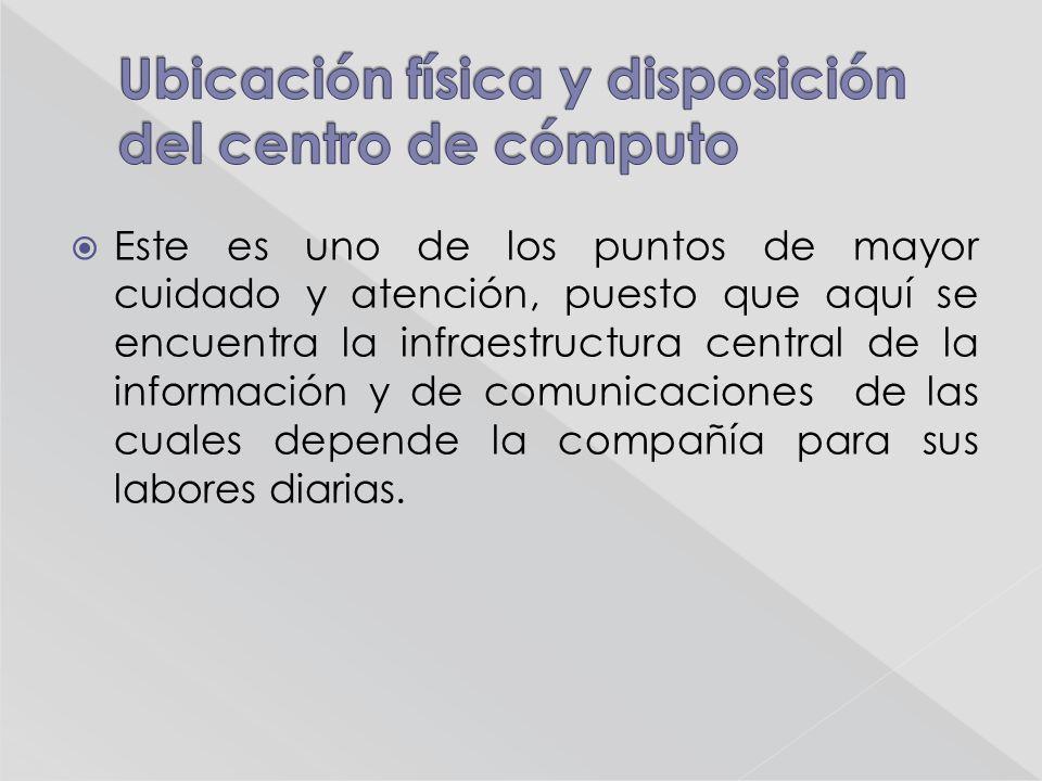 Este es uno de los puntos de mayor cuidado y atención, puesto que aquí se encuentra la infraestructura central de la información y de comunicaciones de las cuales depende la compañía para sus labores diarias.