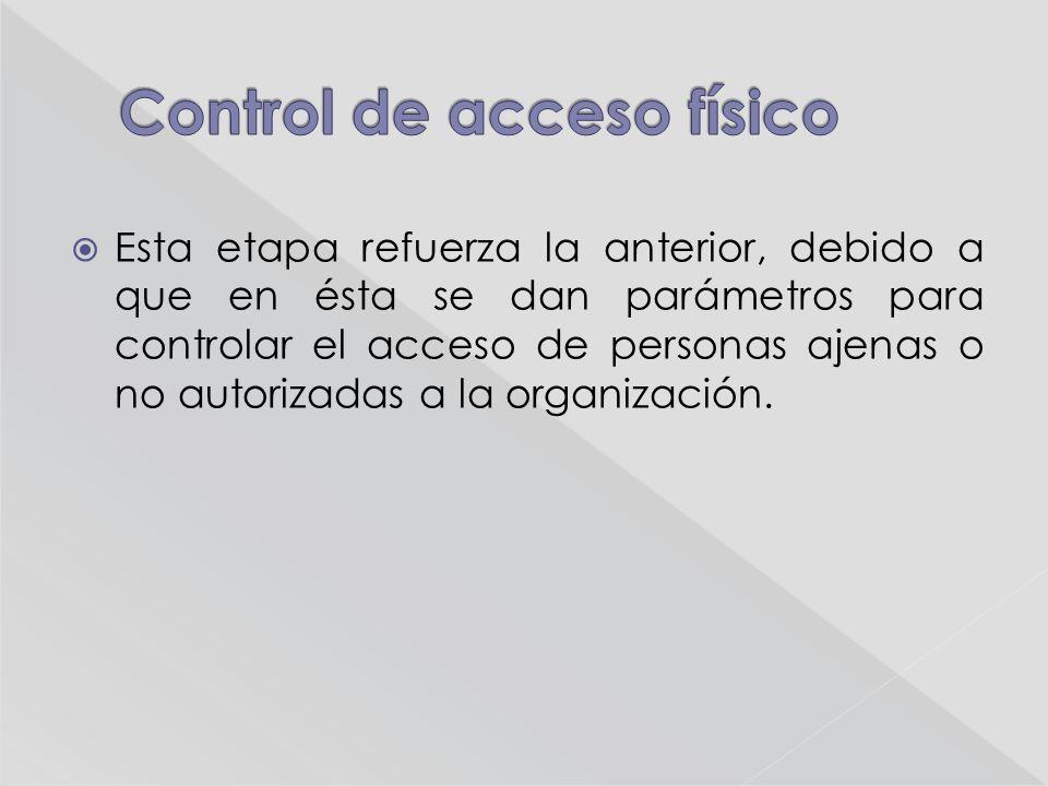 Esta etapa refuerza la anterior, debido a que en ésta se dan parámetros para controlar el acceso de personas ajenas o no autorizadas a la organización.