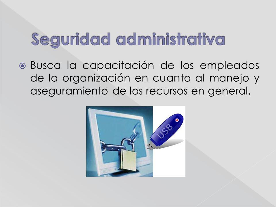 Busca la capacitación de los empleados de la organización en cuanto al manejo y aseguramiento de los recursos en general.
