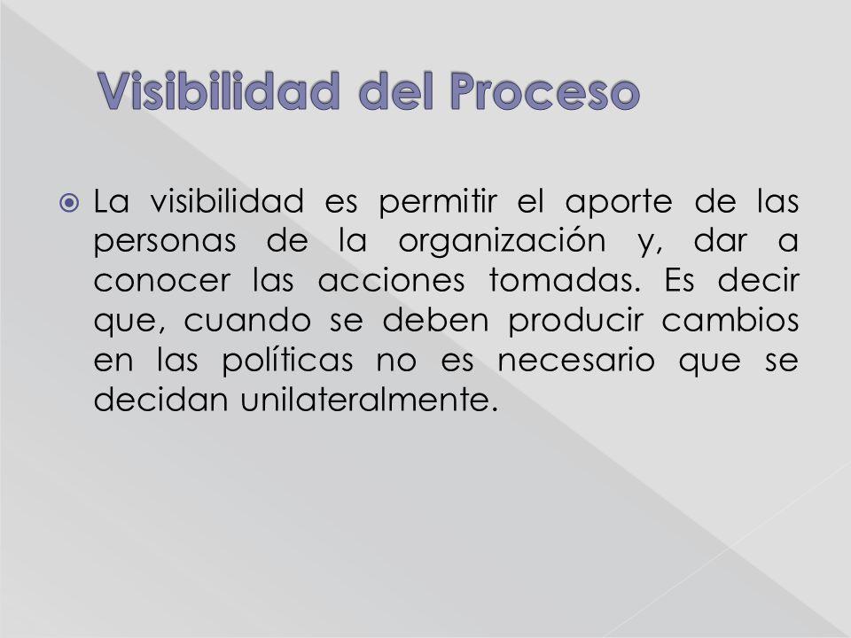 La visibilidad es permitir el aporte de las personas de la organización y, dar a conocer las acciones tomadas.