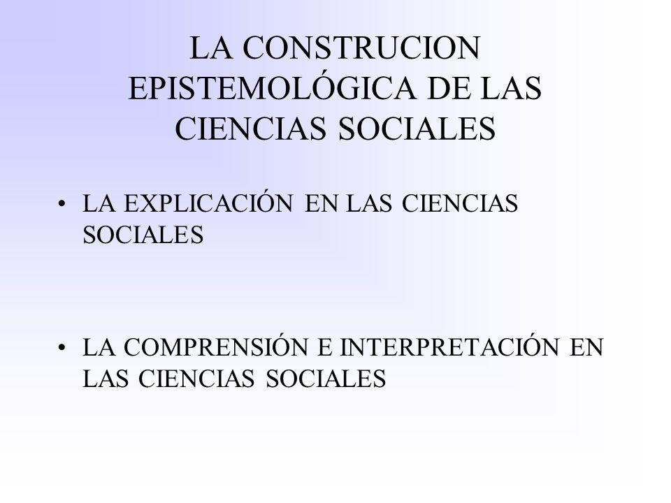 LA CONSTRUCION EPISTEMOLÓGICA DE LAS CIENCIAS SOCIALES LA EXPLICACIÓN EN LAS CIENCIAS SOCIALES LA COMPRENSIÓN E INTERPRETACIÓN EN LAS CIENCIAS SOCIALE