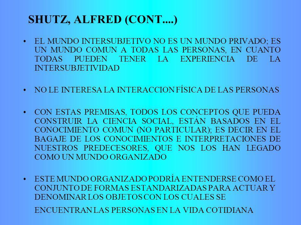 SHUTZ, ALFRED (CONT....) EL MUNDO INTERSUBJETIVO NO ES UN MUNDO PRIVADO; ES UN MUNDO COMUN A TODAS LAS PERSONAS, EN CUANTO TODAS PUEDEN TENER LA EXPERIENCIA DE LA INTERSUBJETIVIDAD NO LE INTERESA LA INTERACCION FÍSICA DE LAS PERSONAS CON ESTAS PREMISAS, TODOS LOS CONCEPTOS QUE PUEDA CONSTRUIR LA CIENCIA SOCIAL, ESTÁN BASADOS EN EL CONOCIMIENTO COMUN (NO PARTICULAR); ES DECIR EN EL BAGAJE DE LOS CONOCIMIENTOS E INTERPRETACIONES DE NUESTROS PREDECESORES, QUE NOS LOS HAN LEGADO COMO UN MUNDO ORGANIZADO ESTE MUNDO ORGANIZADO PODRÍA ENTENDERSE COMO EL CONJUNTO DE FORMAS ESTANDARIZADAS PARA ACTUAR Y DENOMINAR LOS OBJETOS CON LOS CUALES SE ENCUENTRAN LAS PERSONAS EN LA VIDA COTIDIANA