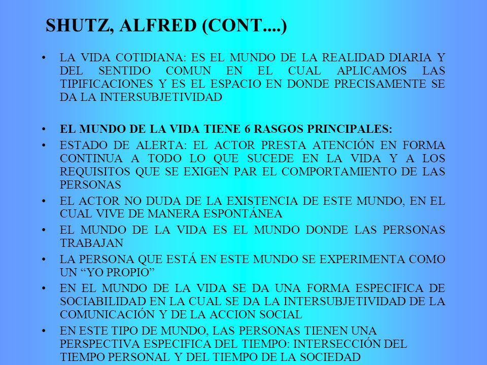 SHUTZ, ALFRED (CONT....) LA VIDA COTIDIANA: ES EL MUNDO DE LA REALIDAD DIARIA Y DEL SENTIDO COMUN EN EL CUAL APLICAMOS LAS TIPIFICACIONES Y ES EL ESPA