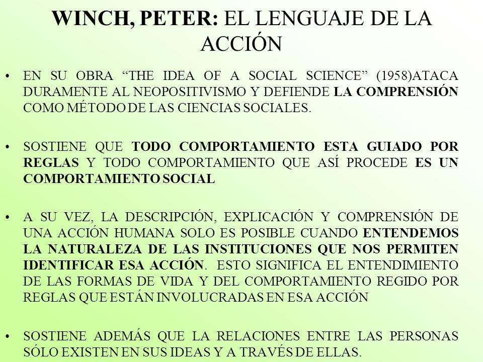 WINCH, PETER: EL LENGUAJE DE LA ACCIÓN EN SU OBRA THE IDEA OF A SOCIAL SCIENCE (1958)ATACA DURAMENTE AL NEOPOSITIVISMO Y DEFIENDE LA COMPRENSIÓN COMO MÉTODO DE LAS CIENCIAS SOCIALES.