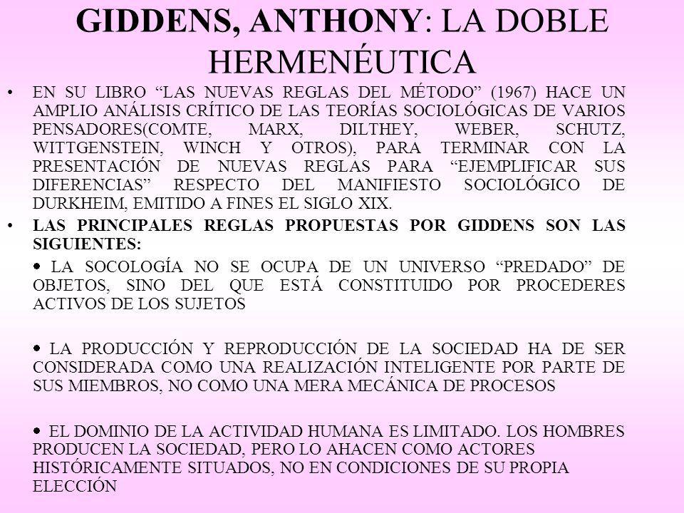 GIDDENS, ANTHONY: LA DOBLE HERMENÉUTICA EN SU LIBRO LAS NUEVAS REGLAS DEL MÉTODO (1967) HACE UN AMPLIO ANÁLISIS CRÍTICO DE LAS TEORÍAS SOCIOLÓGICAS DE