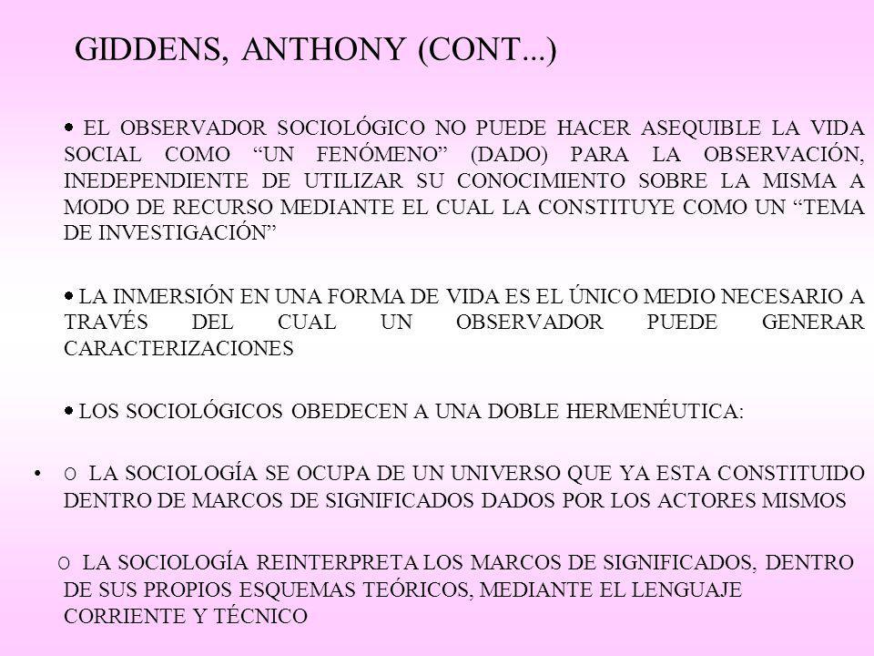 GIDDENS, ANTHONY (CONT...) EL OBSERVADOR SOCIOLÓGICO NO PUEDE HACER ASEQUIBLE LA VIDA SOCIAL COMO UN FENÓMENO (DADO) PARA LA OBSERVACIÓN, INEDEPENDIENTE DE UTILIZAR SU CONOCIMIENTO SOBRE LA MISMA A MODO DE RECURSO MEDIANTE EL CUAL LA CONSTITUYE COMO UN TEMA DE INVESTIGACIÓN LA INMERSIÓN EN UNA FORMA DE VIDA ES EL ÚNICO MEDIO NECESARIO A TRAVÉS DEL CUAL UN OBSERVADOR PUEDE GENERAR CARACTERIZACIONES LOS SOCIOLÓGICOS OBEDECEN A UNA DOBLE HERMENÉUTICA: O LA SOCIOLOGÍA SE OCUPA DE UN UNIVERSO QUE YA ESTA CONSTITUIDO DENTRO DE MARCOS DE SIGNIFICADOS DADOS POR LOS ACTORES MISMOS O LA SOCIOLOGÍA REINTERPRETA LOS MARCOS DE SIGNIFICADOS, DENTRO DE SUS PROPIOS ESQUEMAS TEÓRICOS, MEDIANTE EL LENGUAJE CORRIENTE Y TÉCNICO