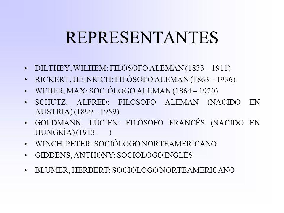 REPRESENTANTES DILTHEY, WILHEM: FILÓSOFO ALEMÁN (1833 – 1911) RICKERT, HEINRICH: FILÓSOFO ALEMAN (1863 – 1936) WEBER, MAX: SOCIÓLOGO ALEMAN (1864 – 1920) SCHUTZ, ALFRED: FILÓSOFO ALEMAN (NACIDO EN AUSTRIA) (1899 – 1959) GOLDMANN, LUCIEN: FILÓSOFO FRANCÉS (NACIDO EN HUNGRÍA) (1913 - ) WINCH, PETER: SOCIÓLOGO NORTEAMERICANO GIDDENS, ANTHONY: SOCIÓLOGO INGLÉS BLUMER, HERBERT: SOCIÓLOGO NORTEAMERICANO