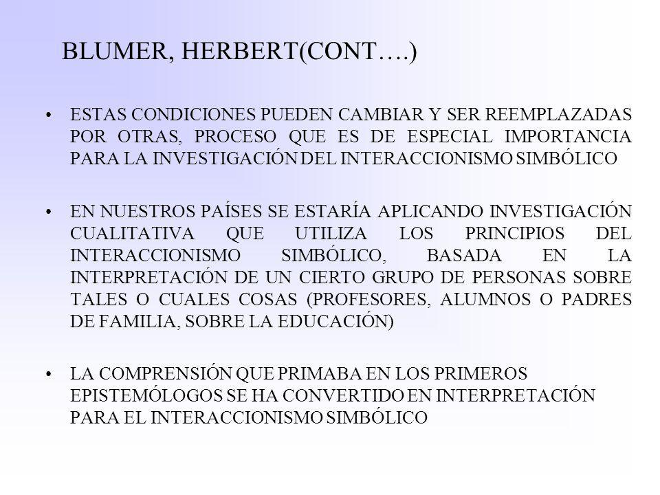 BLUMER, HERBERT(CONT….) ESTAS CONDICIONES PUEDEN CAMBIAR Y SER REEMPLAZADAS POR OTRAS, PROCESO QUE ES DE ESPECIAL IMPORTANCIA PARA LA INVESTIGACIÓN DEL INTERACCIONISMO SIMBÓLICO EN NUESTROS PAÍSES SE ESTARÍA APLICANDO INVESTIGACIÓN CUALITATIVA QUE UTILIZA LOS PRINCIPIOS DEL INTERACCIONISMO SIMBÓLICO, BASADA EN LA INTERPRETACIÓN DE UN CIERTO GRUPO DE PERSONAS SOBRE TALES O CUALES COSAS (PROFESORES, ALUMNOS O PADRES DE FAMILIA, SOBRE LA EDUCACIÓN) LA COMPRENSIÓN QUE PRIMABA EN LOS PRIMEROS EPISTEMÓLOGOS SE HA CONVERTIDO EN INTERPRETACIÓN PARA EL INTERACCIONISMO SIMBÓLICO