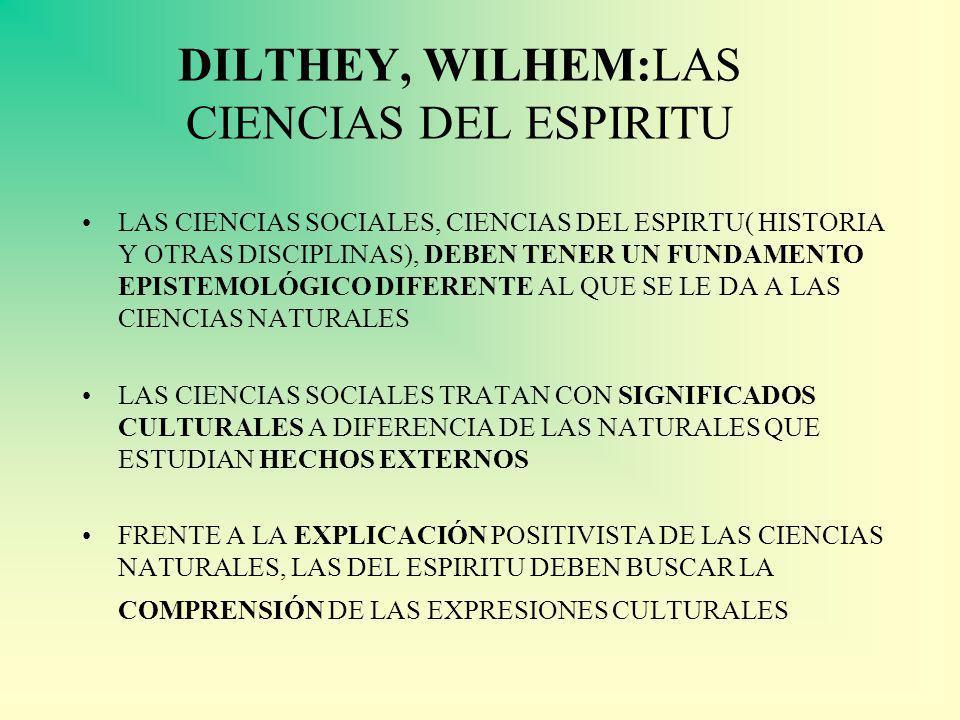 DILTHEY, WILHEM:LAS CIENCIAS DEL ESPIRITU LAS CIENCIAS SOCIALES, CIENCIAS DEL ESPIRTU( HISTORIA Y OTRAS DISCIPLINAS), DEBEN TENER UN FUNDAMENTO EPISTEMOLÓGICO DIFERENTE AL QUE SE LE DA A LAS CIENCIAS NATURALES LAS CIENCIAS SOCIALES TRATAN CON SIGNIFICADOS CULTURALES A DIFERENCIA DE LAS NATURALES QUE ESTUDIAN HECHOS EXTERNOS FRENTE A LA EXPLICACIÓN POSITIVISTA DE LAS CIENCIAS NATURALES, LAS DEL ESPIRITU DEBEN BUSCAR LA COMPRENSIÓN DE LAS EXPRESIONES CULTURALES