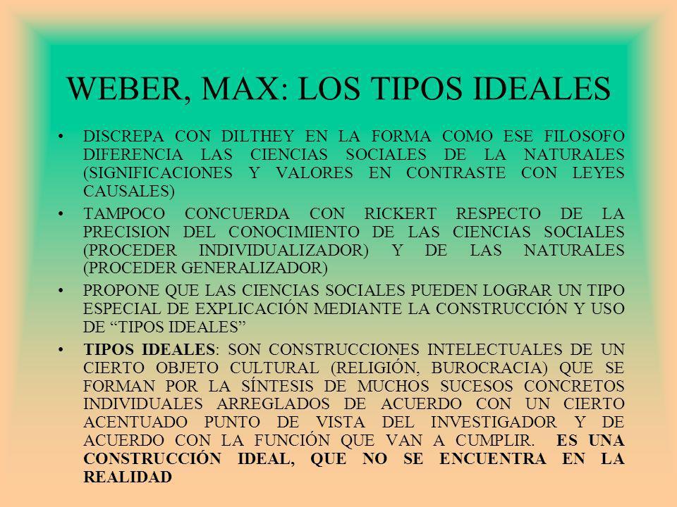 WEBER, MAX: LOS TIPOS IDEALES DISCREPA CON DILTHEY EN LA FORMA COMO ESE FILOSOFO DIFERENCIA LAS CIENCIAS SOCIALES DE LA NATURALES (SIGNIFICACIONES Y VALORES EN CONTRASTE CON LEYES CAUSALES) TAMPOCO CONCUERDA CON RICKERT RESPECTO DE LA PRECISION DEL CONOCIMIENTO DE LAS CIENCIAS SOCIALES (PROCEDER INDIVIDUALIZADOR) Y DE LAS NATURALES (PROCEDER GENERALIZADOR) PROPONE QUE LAS CIENCIAS SOCIALES PUEDEN LOGRAR UN TIPO ESPECIAL DE EXPLICACIÓN MEDIANTE LA CONSTRUCCIÓN Y USO DE TIPOS IDEALES TIPOS IDEALES: SON CONSTRUCCIONES INTELECTUALES DE UN CIERTO OBJETO CULTURAL (RELIGIÓN, BUROCRACIA) QUE SE FORMAN POR LA SÍNTESIS DE MUCHOS SUCESOS CONCRETOS INDIVIDUALES ARREGLADOS DE ACUERDO CON UN CIERTO ACENTUADO PUNTO DE VISTA DEL INVESTIGADOR Y DE ACUERDO CON LA FUNCIÓN QUE VAN A CUMPLIR.
