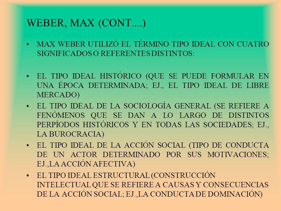 WEBER, MAX (CONT....) MAX WEBER UTILIZÓ EL TÉRMINO TIPO IDEAL CON CUATRO SIGNIFICADOS O REFERENTES DISTINTOS: EL TIPO IDEAL HISTÓRICO (QUE SE PUEDE FO