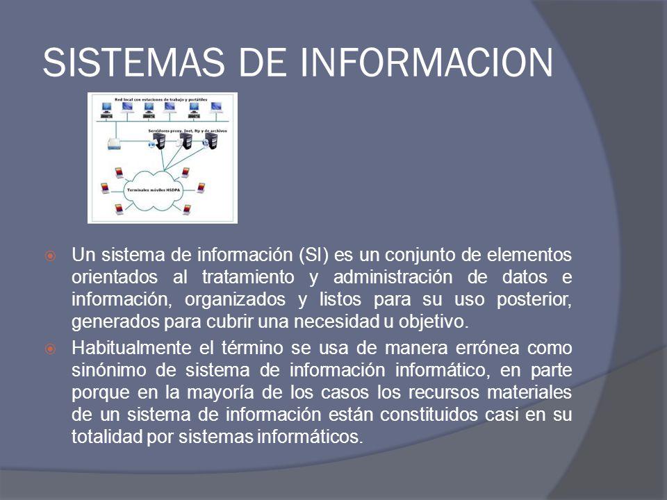 SISTEMAS DE INFORMACION Un sistema de información (SI) es un conjunto de elementos orientados al tratamiento y administración de datos e información,