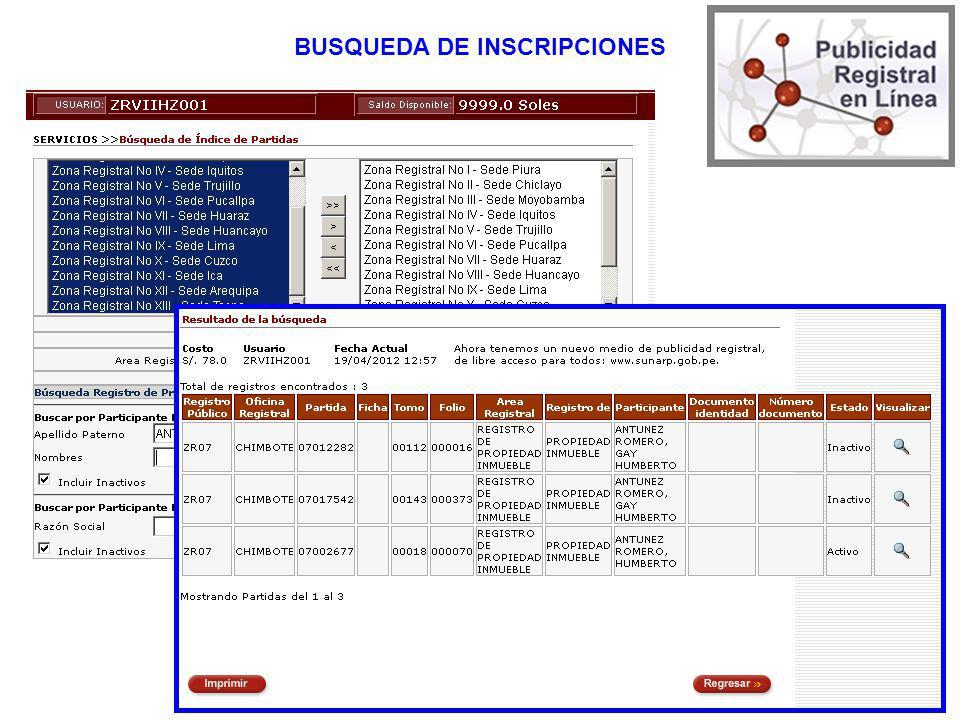 BUSQUEDA DE INSCRIPCIONES