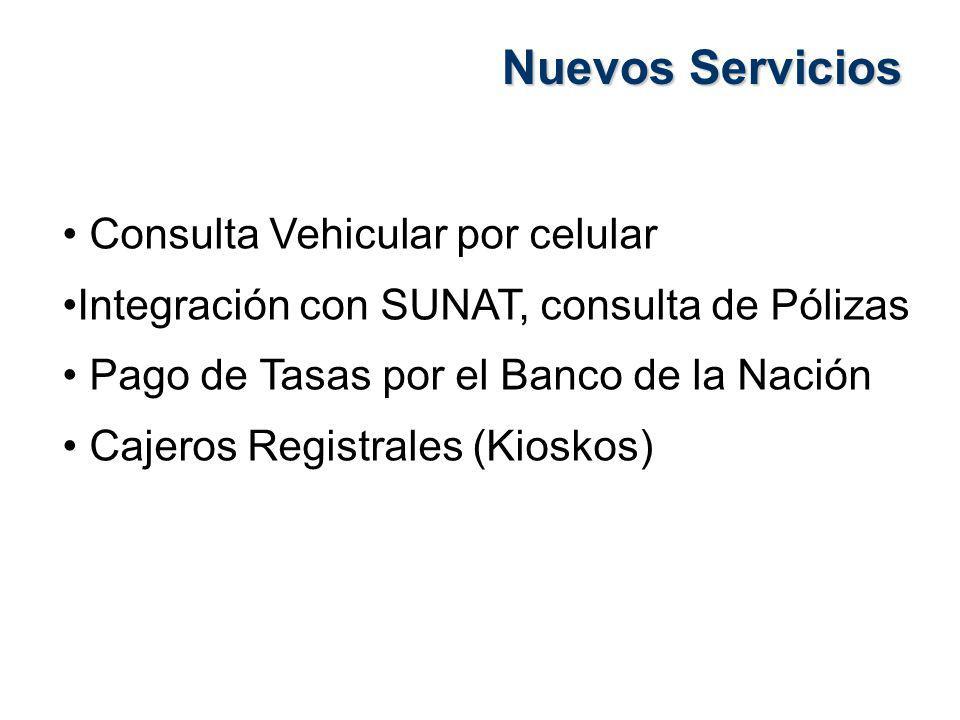 Nuevos Servicios Consulta Vehicular por celular Integración con SUNAT, consulta de Pólizas Pago de Tasas por el Banco de la Nación Cajeros Registrales (Kioskos)